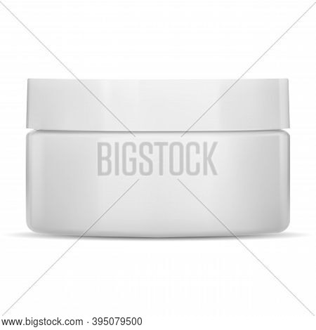 White Cream Jar. Plastic Cosmetic Container, Vector Mockup. Face Skin Care Creme Package, Front View
