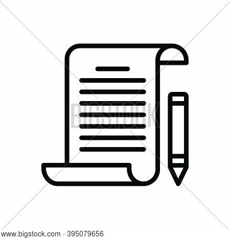 Black Line Icon For Assignment Task Piece-of-work Homework Education Document Notebook Text Paper