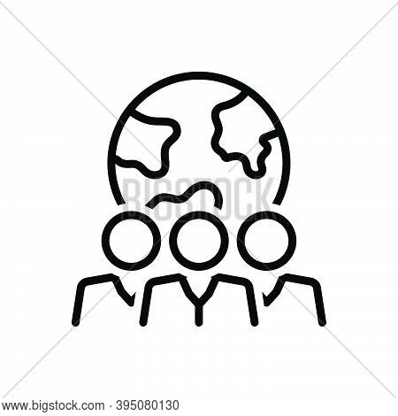 Black Line Icon For Population Folk Citizens Populace Community Person Crowd Country Globe