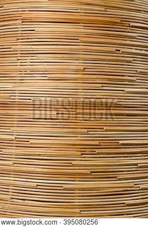 Traditional Thai Style Pattern Nature Background Of Brown Handicraft Weave Texture Rattan Surface Fo