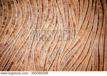 Modern Style Pattern Nature Background Of Wave Brown Handicraft Weave Texture Bamboo Surface For Dec