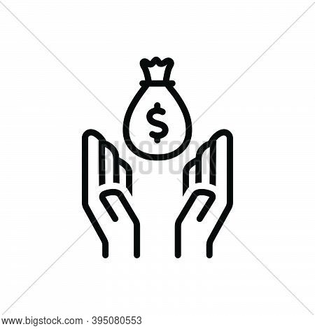 Black Line Icon For Assist Help Benefit Cooperate Reinforce Money Caregiver