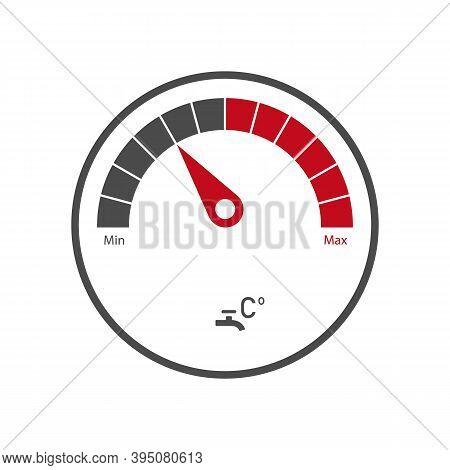 Indicator Meter Of Water Heater. Minimum And Maximum Value. Water Meter Icon.