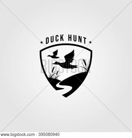 Duck Hunt Logo Shield Emblem Vector Template Illustration Design