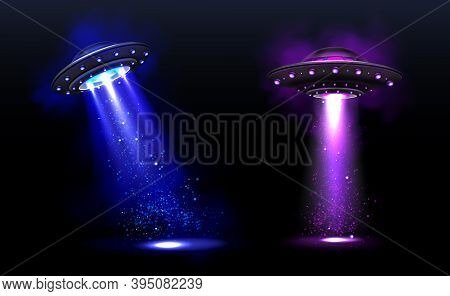 3d Ufo, Vector Alien Space Ships With Blue And Purple Light Beams With Sparkles. Saucers With Illumi