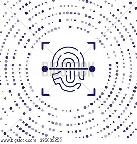 Blue Fingerprint Icon Isolated On White Background. Id App Icon. Identification Sign. Touch Id. Abst