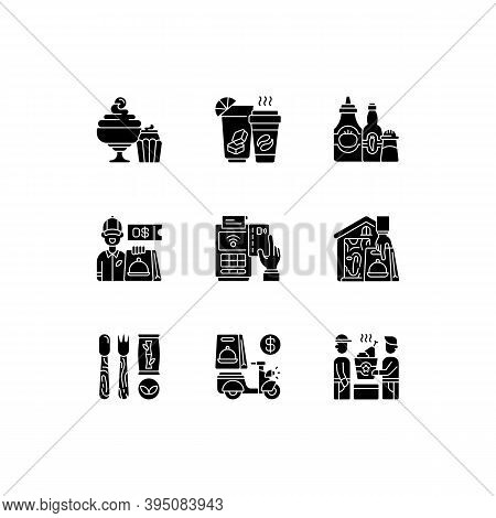 Delivery And Takeout Black Glyph Icons Set On White Space. Drinks And Beverages. Condiments And Sauc