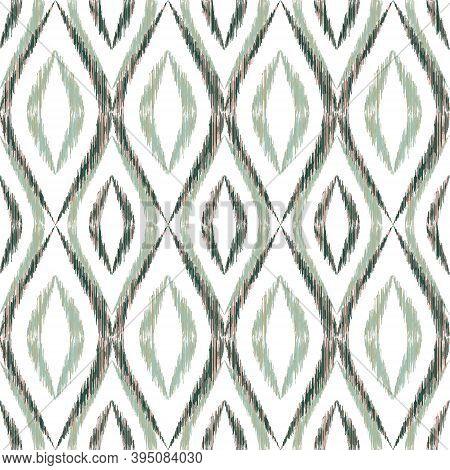 Ikat Ogee Seamless Vector Pattern Design. Ethnic Fabric Print Geometric Ikat Pattern. Ogee Seamless