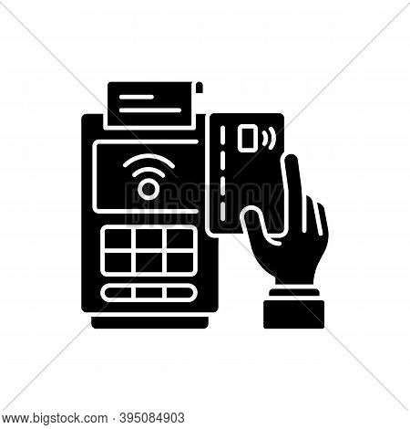 Cashless Payment Black Glyph Icon. Paying Online. Collecting Cash From Customers. Financial Transact