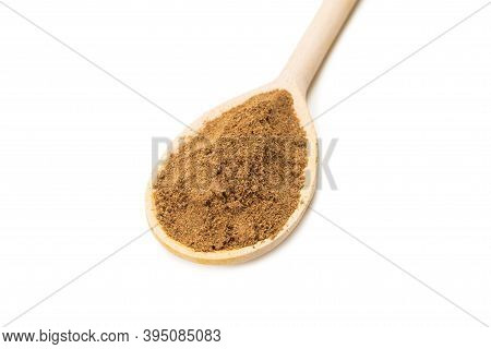 Mix Spices On Wooden Spoon Isolated On White Background.