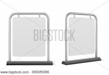 Pavement Sign, White Sidewalk Advertising Board Isolated On White Background. Vector Realistic Mocku