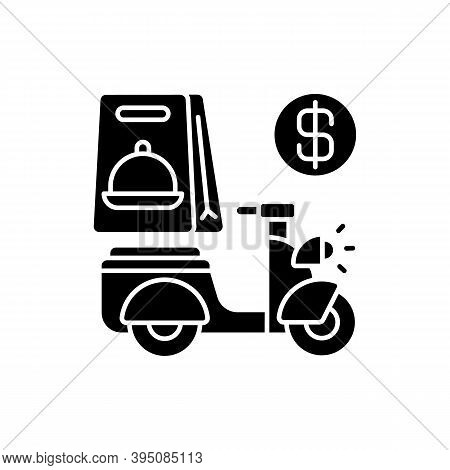 Delivery Fee Black Glyph Icon. Courier Service. Online Ordering. Collecting Money From Consumers. Ca