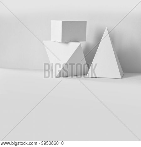 Platonic Solids Figures Geometry. Abstract White Color Geometrical Objects Still Life Composition. T