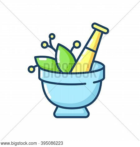Mortar And Pestle Rgb Color Icon. Kitchen Tool To Mesh Herbs. Cooking Utensil To Mix Condiments. Foo