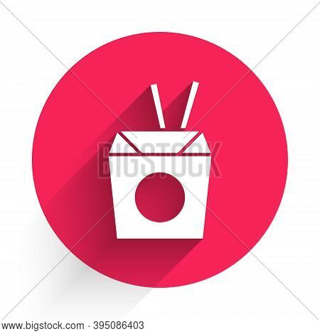 White Asian Noodles In Paper Box And Chopsticks Icon Isolated With Long Shadow. Street Fast Food. Ko