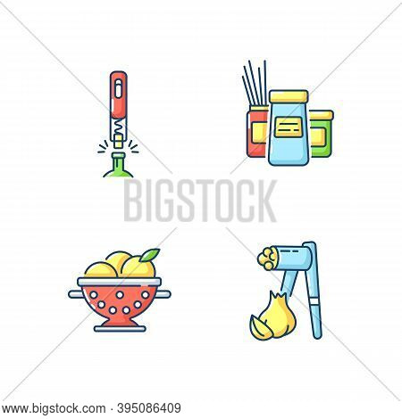 Food Preparation Tools Rgb Color Icons Set. Corkscrew For Bottle. Kitchen Storage Containers. Coland