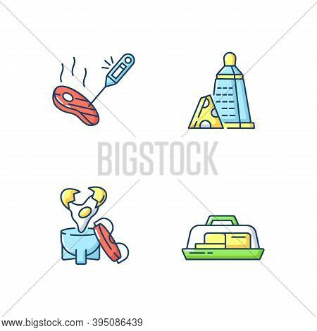 Kitchen Appliance Rgb Color Icons Set. Food Thermometer. Measure Meat Temperature. Butter Dish. Egg