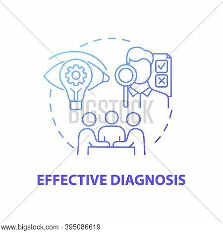 Effective Diagnosis Concept Icon. Business Consulting Stage Idea Thin Line Illustration. Examining E