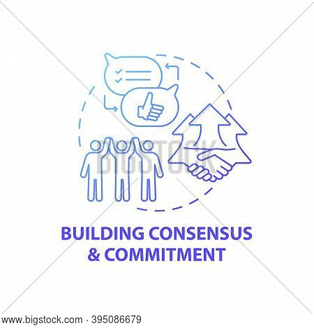 Building Consensus And Commitment Concept Icon. Business Consulting Stage Idea Thin Line Illustratio
