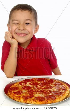 Kid And Pizza 6 Years Old