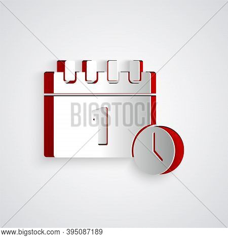 Paper Cut Calendar With First September Date Icon Isolated On Grey Background. September 1. Date And