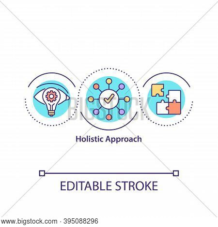 Holistic Approach Concept Icon. Employee Holistic Perspective Idea Thin Line Illustration. Take All