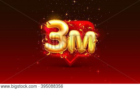 Thank You Followers Peoples, 3m Online Social Group, Happy Banner Celebrate, Vector