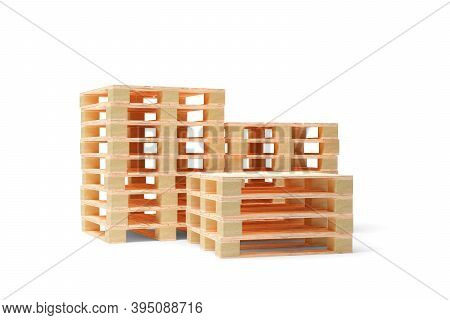 Three Stacks Of Wooden Transport Or Freight Pallets Over White Background, Industrial Transportation