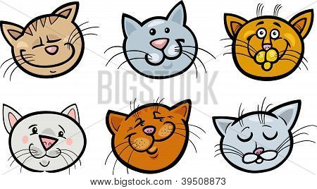 poster of Cartoon Illustration of Different Happy Cats ot Kittens Heads Collection Set