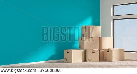 Brown Moving Storage Cardboard Boxes Stacked In Empty Room In Apartment Or House With Colorful Wall