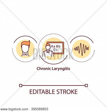 Chronic Laryngitis Concept Icon. Voice Problems After Singing. Strong Pain Treatment. Sore Throat Id