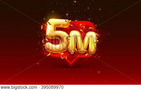 Thank You Followers Peoples, 5m Online Social Group, Happy Banner Celebrate, Vector