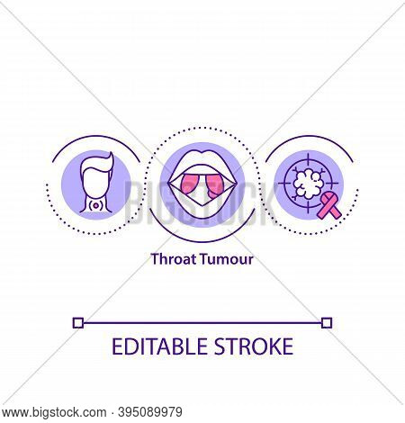 Throat Tumour Concept Icon. Disease Diagnosis And Symptoms. Treatment Of Throat Cancer. Medical Help