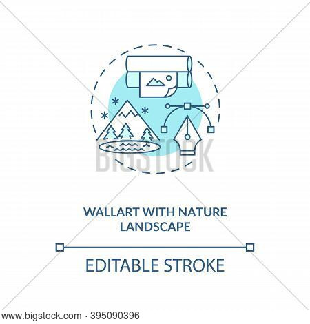 Wallart With Nature Landscape Blue Concept Icon. Wallpaper With Plants. Comfortable Interior Design.