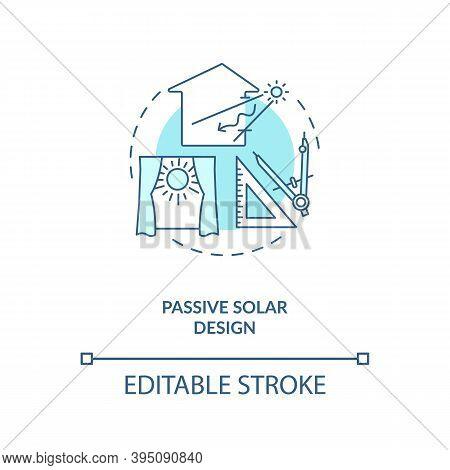 Passive Solar Design Blue Concept Icon. Exposure To Direct Sunlight. Living Space At Home. Biophilia