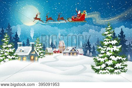 Christmas Landscape With Snow-covered Houses And Santa Claus In Sleigh With Gifts. Christmas Holiday