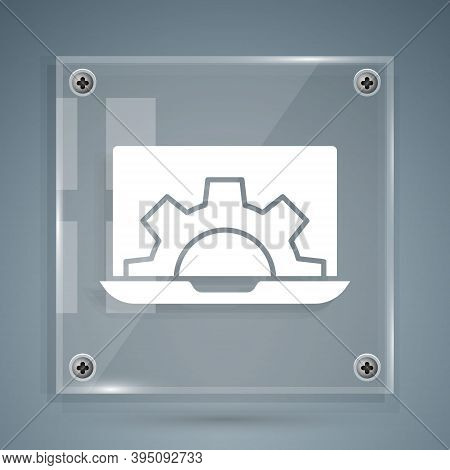 White Software, Web Development, Programming Concept Icon Isolated On Grey Background. Programming L