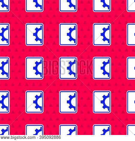 Blue Software, Web Development, Programming Concept Icon Isolated Seamless Pattern On Red Background