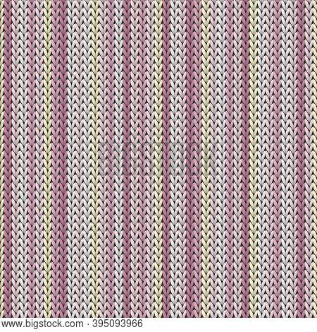 Clothing Vertical Stripes Knit Texture Geometric Vector Seamless. Carpet Stockinet Ornament. Norwegi