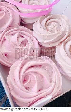 Fresh Handmade Marshmallows In A Light Mood. Close-up Of A Pink Marshmallow In A Box For Sale. Sale