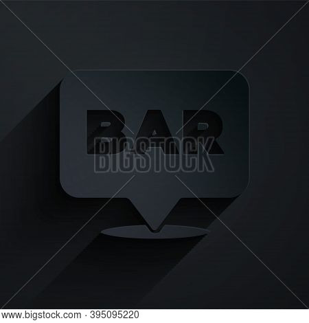 Paper Cut Alcohol Or Beer Bar Location Icon Isolated On Black Background. Symbol Of Drinking, Pub, C