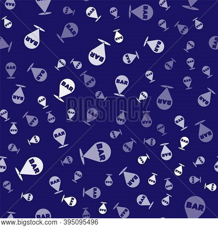 White Alcohol Or Beer Bar Location Icon Isolated Seamless Pattern On Blue Background. Symbol Of Drin