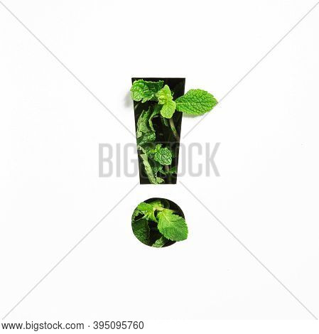Exclamation Mark Of Green Natural Mint, Cut Paper Isolated On White. Menthol Font. Warning And Keep