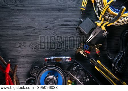 Car Audio Stereo Equipment Flat Lay Background With Copy Space.