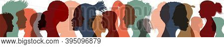Silhouette Profile Group Of Men And Women Of Diverse Cultures. Diversity Multi-ethnic People. Concep