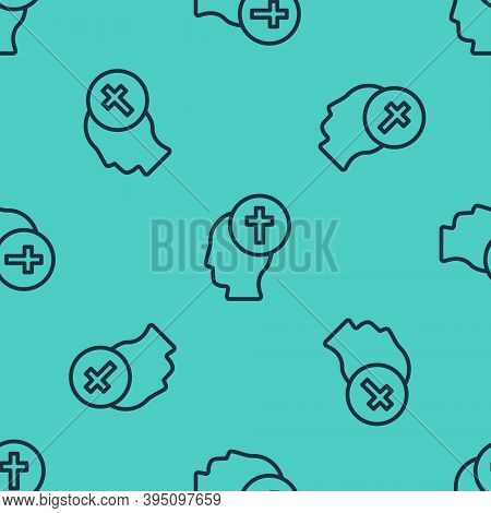 Black Line Man Graves Funeral Sorrow Icon Isolated Seamless Pattern On Green Background. The Emotion