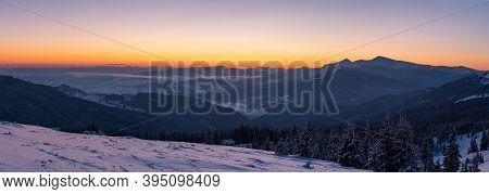 Picturesque Winter Alps Sunrise. Highest Ridge Of The Ukrainian Carpathians Is Chornohora With Peaks