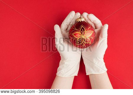 Christmas During Quarantine Concept. Top Above Overhead View Photo Of Female Hands In White Gloves H