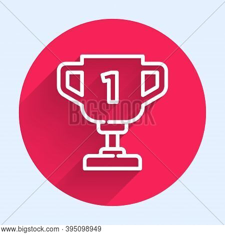 White Line Award Cup Icon Isolated With Long Shadow. Winner Trophy Symbol. Championship Or Competiti
