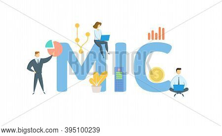 Mic, Market Identifier Code. Concept With Keywords, People And Icons. Flat Vector Illustration. Isol
